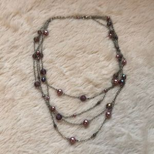 Jewelry - Silver Tone Multistrand Pink Beaded Chain